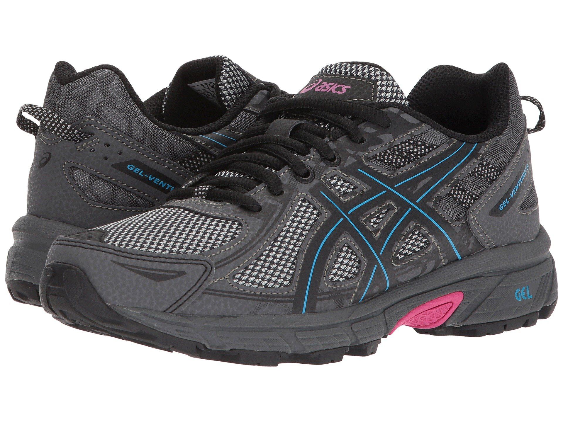 ASICS Womens Gel-Venture 6 Black/Island Blue/Pink 5 B US by ASICS (Image #7)