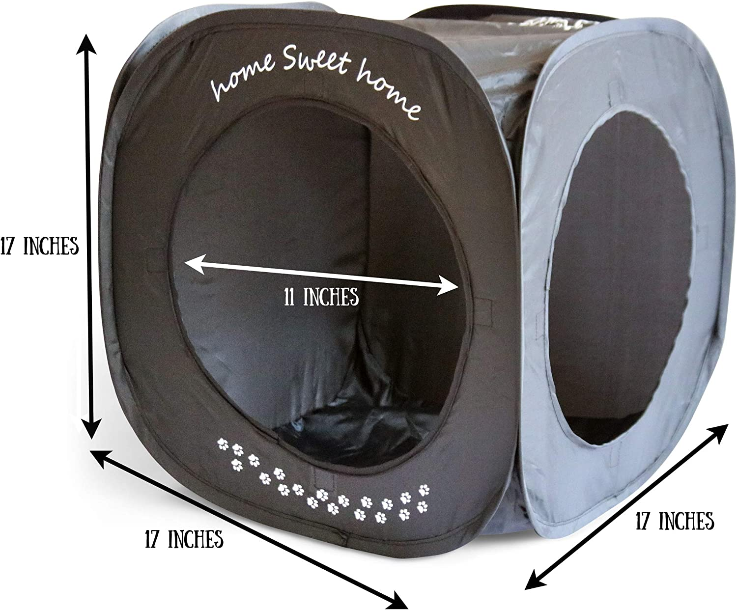 Feline Ruff Home Sweet Home Pop Up Cat Cube A Collapsible Indoor Cat House Covered Pet Bed Hideaway Cave For Dogs And Other Pets Too Pet Supplies