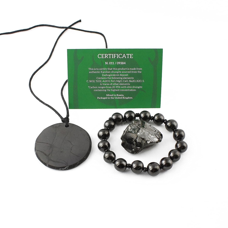 Kit di bilanciamento del chakra Shungite: Shungite Elite, ciondolo a  cerchio grande, braccialetto autentico pietra guarigione naturale -  protezione