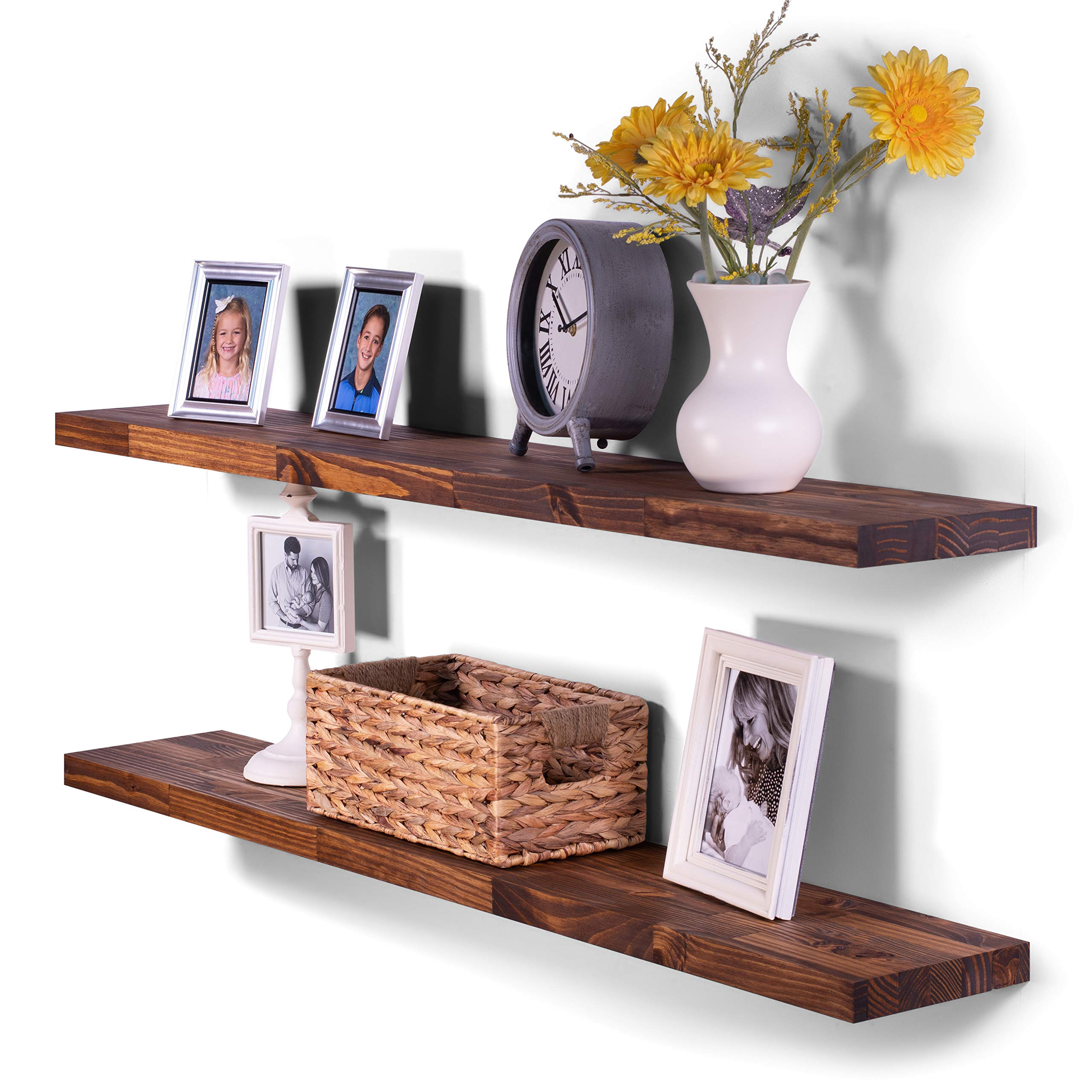 DAKODA LOVE 8'' Deep Butcher Block Floating Shelves, USA Handmade, Clear Coat Finish, 100% Countersunk Hidden Floating Shelf Brackets, Rustic Pine Wood (Set of 2) (48'', Bourbon)