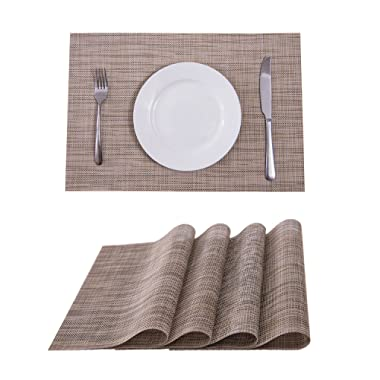 Set of 4 Placemats,Placemats for Dining Table,Heat-resistant Placemats, Stain Resistant Washable PVC Table Mats,Kitchen Table mats(Khaki)