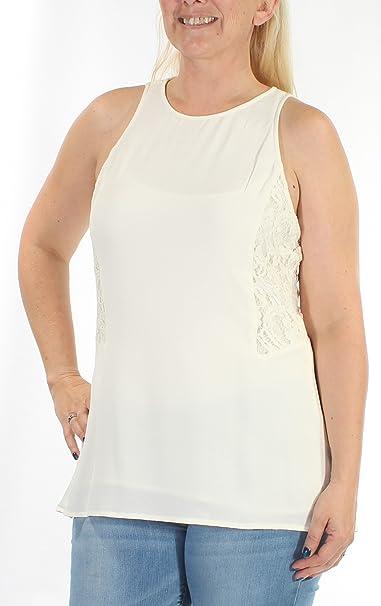 e017ea7790c7 MICHAEL Michael Kors Womens Textured Lace Back Blouse Ivory L at Amazon Women s  Clothing store