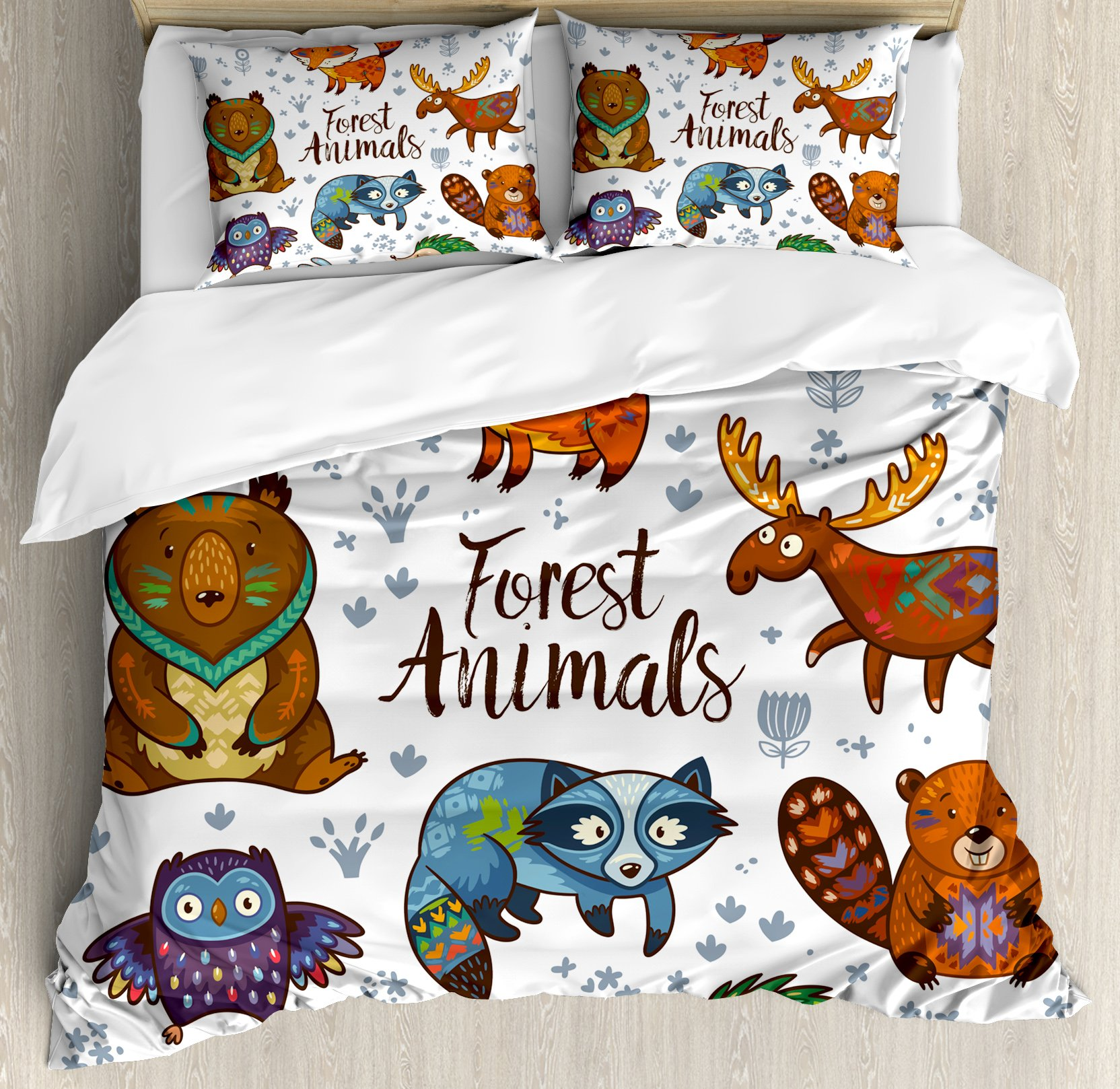 Cabin Decor King Size Duvet Cover Set by Ambesonne, Set of Cute Woodland Animals Tribal Nature Elements Kids Room Nursery Wall Art, Decorative 3 Piece Bedding Set with 2 Pillow Shams, Multicolor