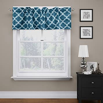 FlamingoP Quatrefoil Navy Valance Curtain Extra Wide And Short Window Treatment For Kitchen Living Dining Room