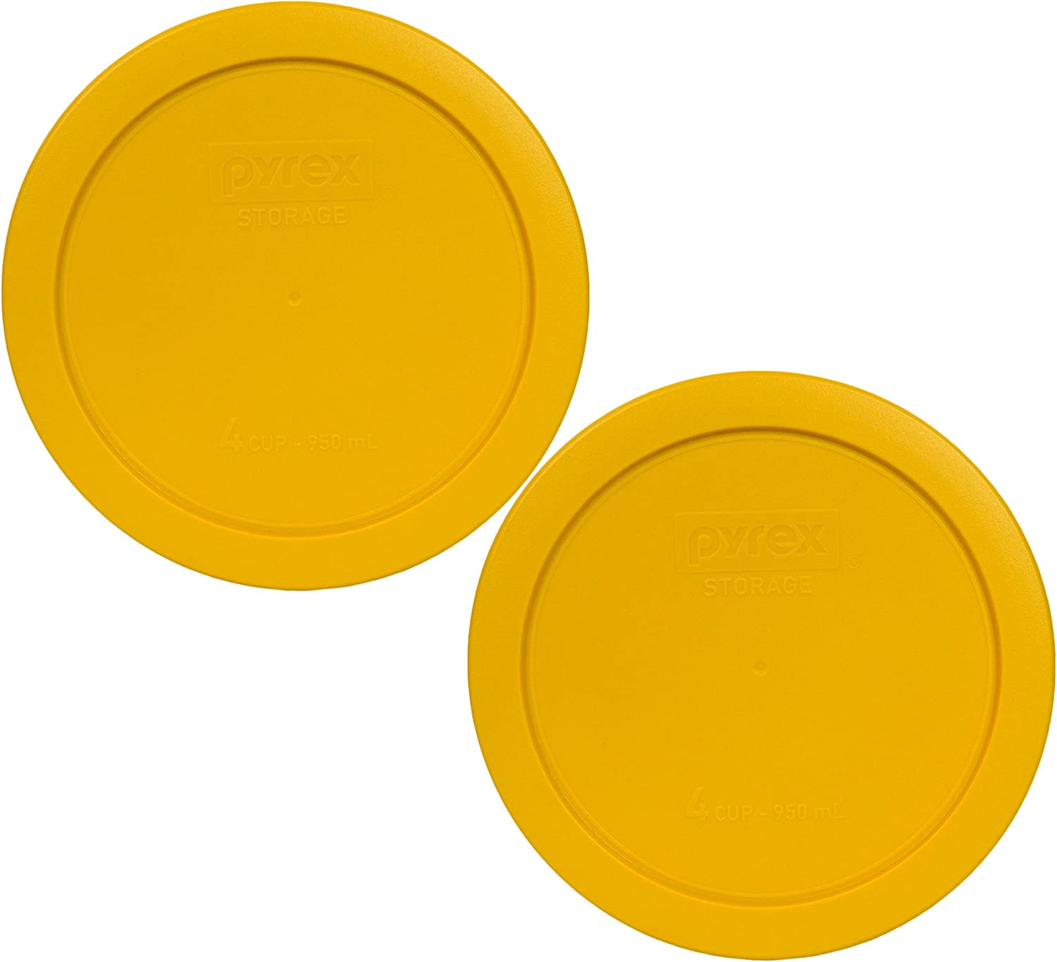 Pyrex 7201-PC Round 4 Cup Storage Lid for Glass Bowls (2, Butter Yellow)