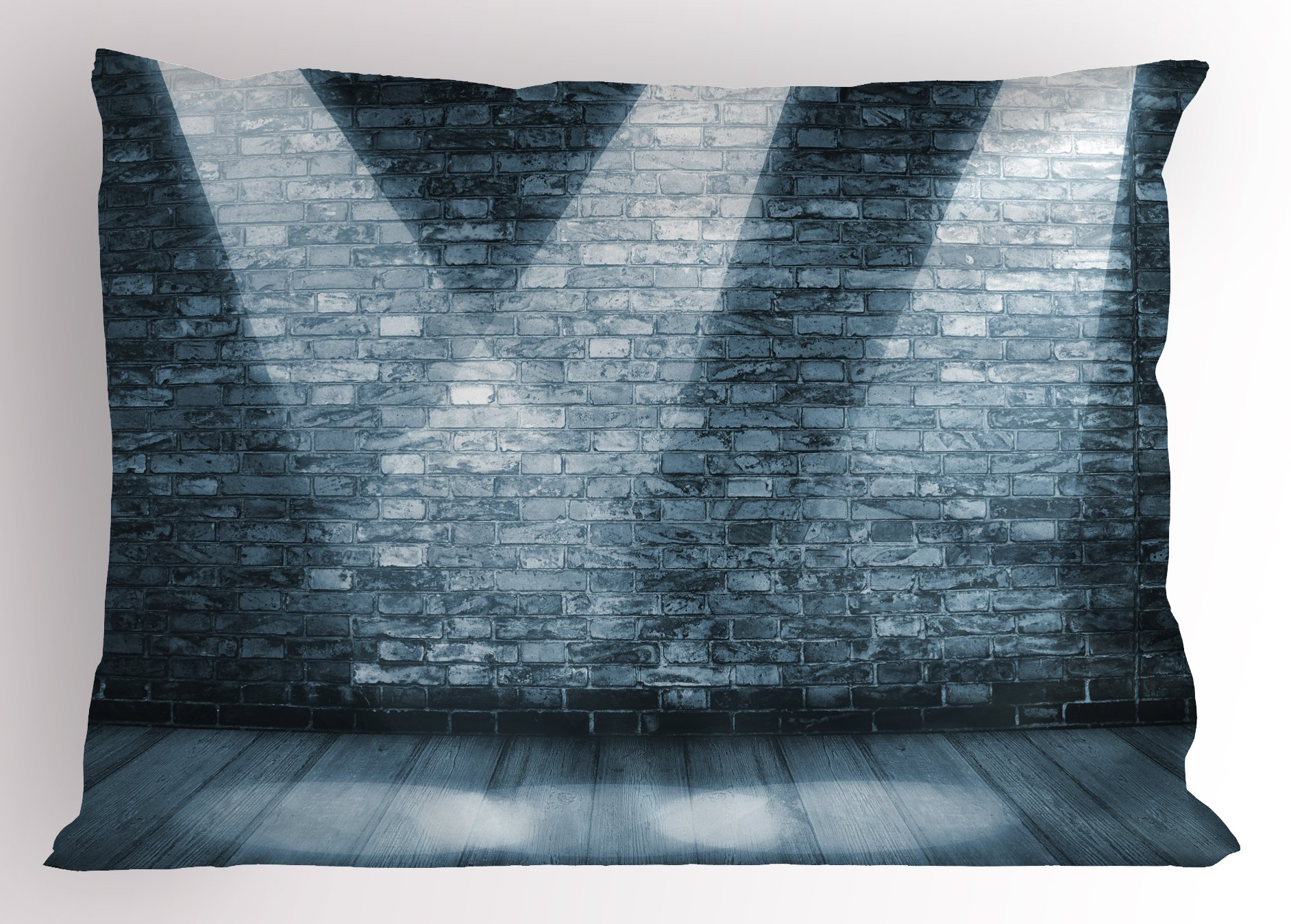 Lunarable Grunge Pillow Sham, Brick Wall in a Room with Interior Luminous Shine Spot Light Projection Picture, Decorative Standard Size Printed Pillowcase, 26 X 20 inches, Blue and Grey