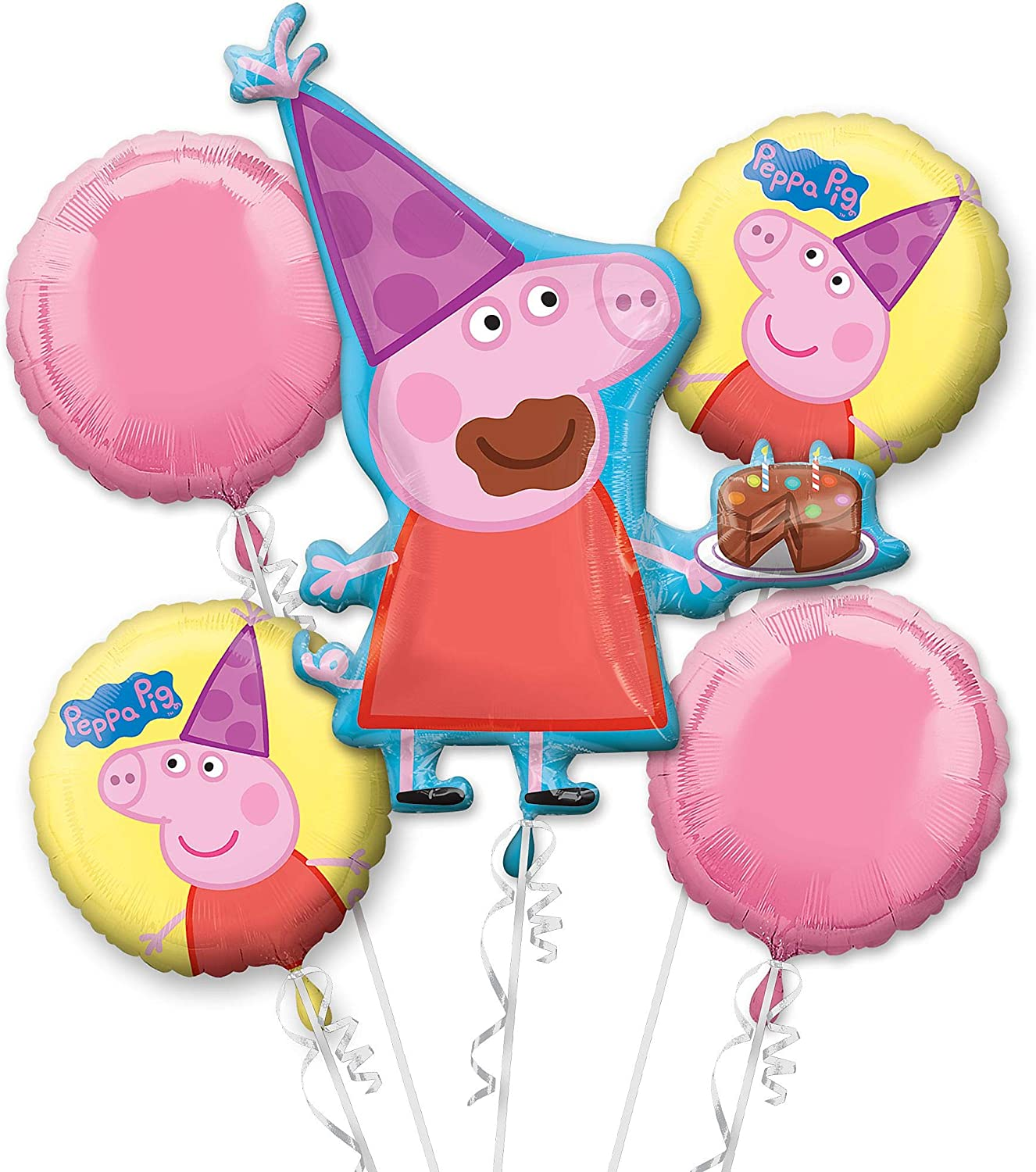 PEPPA PIG PEPPA 5 FOIL BALLOON BOUQUET BIRTHDAY PARTY DISPLAY