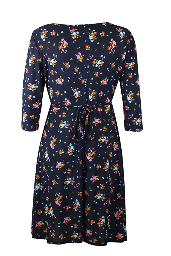 c7b96bf6e11c9 Black Ditsy Floral Wrap Crossover Ladies Tea Dress 1940's Black Red Pink  Blue (14): Amazon.co.uk: Clothing