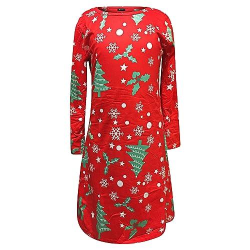 Women's Kids Christmas Dress Mother Daughter Swing Girls Santa Snowman Tree Children Smock Reindeer Xmas Novelty