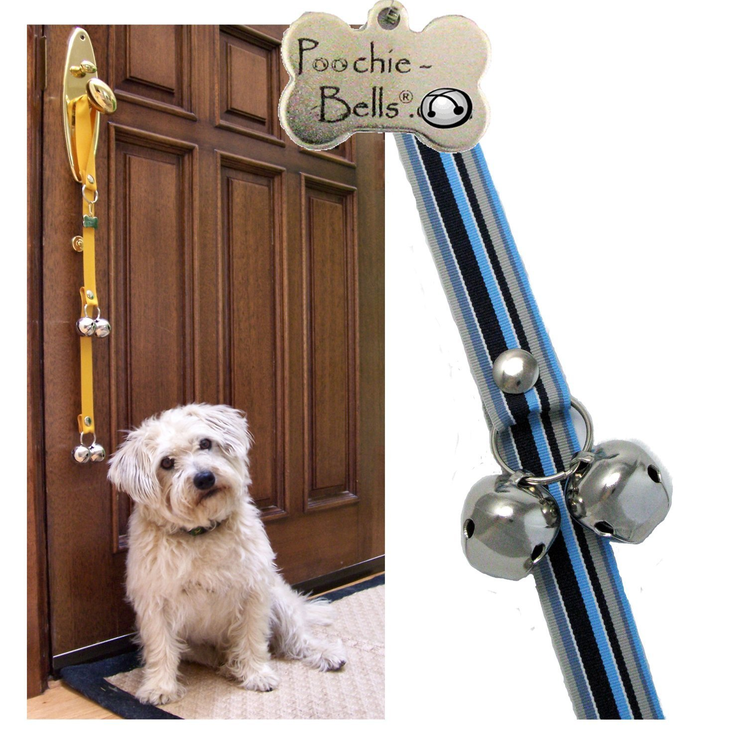 PoochieBells Housetraining Dog Doorbell, Stary Night Stripe, Blue Stripes Design