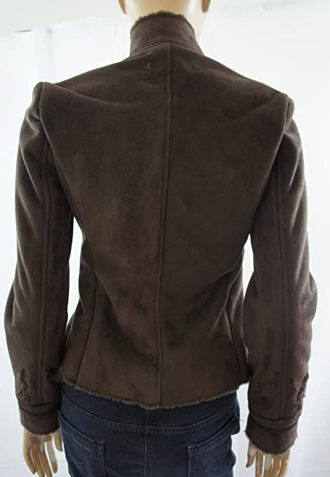 Zara marrón Oscuro Piel sintética de botón Up con Forro Bordado ...