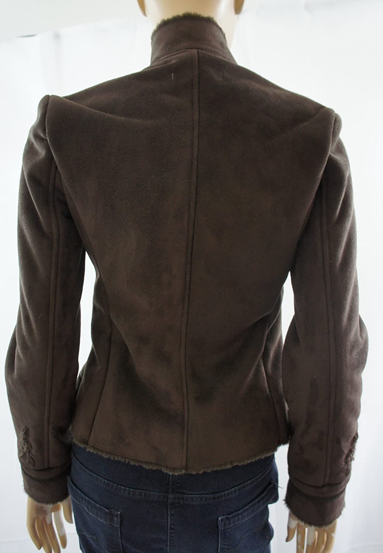 Zara marrón Oscuro Piel sintética de botón Up con Forro Bordado Chaqueta Marrón marrón Oscuro Small: Amazon.es: Ropa y accesorios