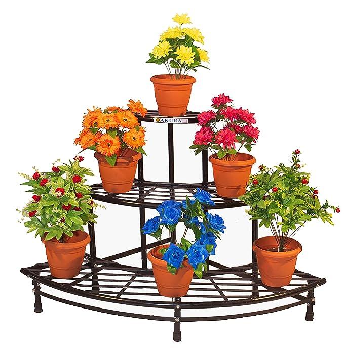 Akura Round Corner Garden Stand Colour Black Round Steel Tubes Od 25 Mm 1350 X 900 X 800mm Amazon In Garden Outdoors