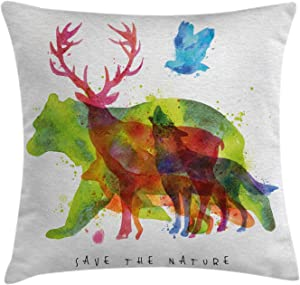 Ambesonne Animal Throw Pillow Cushion Cover, Alaska Wild Animals Bears Wolfs Eagles Deers in Abstract Colored Shadow Like Print, Decorative Square Accent Pillow Case, 16