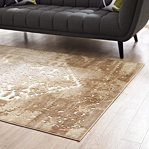 Modway Rosina Distressed Vintage Persian Medallion 8×10 Area Rug in Tan and Cream