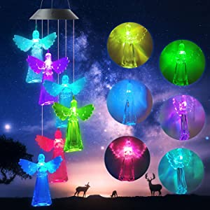 zhengshizuo Angel Wind Chimes OutdoorGifts for Mom Solar Wind Chimes Maple Leaf/Crystal Ball/Butterfly/Hummingbird Wind Chimes Outdoor Decor MomGiftsGardening Gifts Grandma Gifts Wind Chime Solar