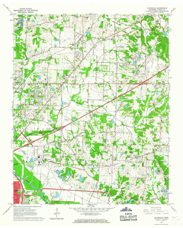 Amazon.com : YellowMaps Ellendale TN topo map, 1:24000 Scale ...