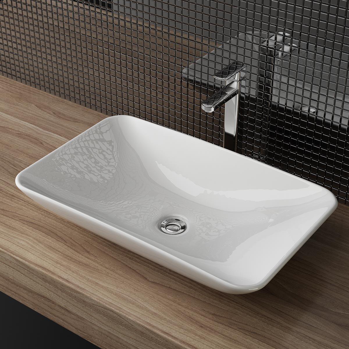 Aufsatzwaschbecken gäste wc  DESIGN KERAMIK AUFSATZWASCHBECKEN WASCHTISCH WASCHSCHALE ...