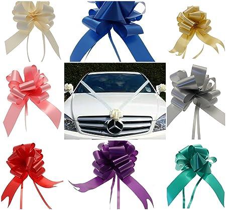 White Wedding Car Kit 3 x 50mm ASSEMBLED Pull Bows 7 meters White Poly Ribbon