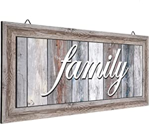 Jetec Family Wall Decor Sign Rustic Family Print Wooden Signs Hanging Sign Decorations for Home Bedroom Living Room Kitchen