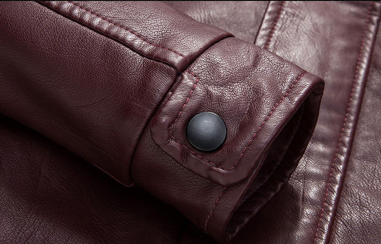 chouyatou Mens Vintage Full Zipper Fleece Lined Faux Leather Biker Jackets