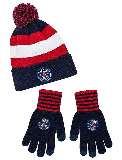 psg-bonnet gants /écharpe paris saint germain-rouge et bleu-gar/çon