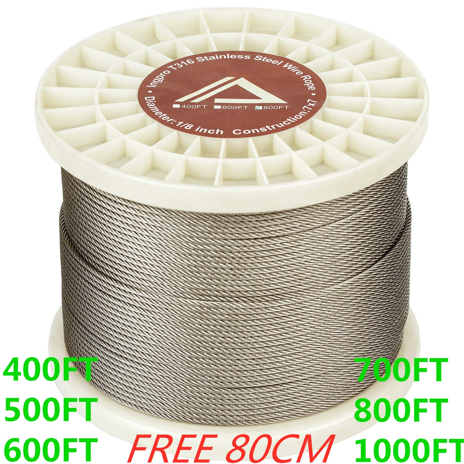 T316 Stainless Steel Cable 1//8 Aircraft Wire Rope for Deck Cable Railing Kit,Corrosion Resistance Grade 7x7 700FT
