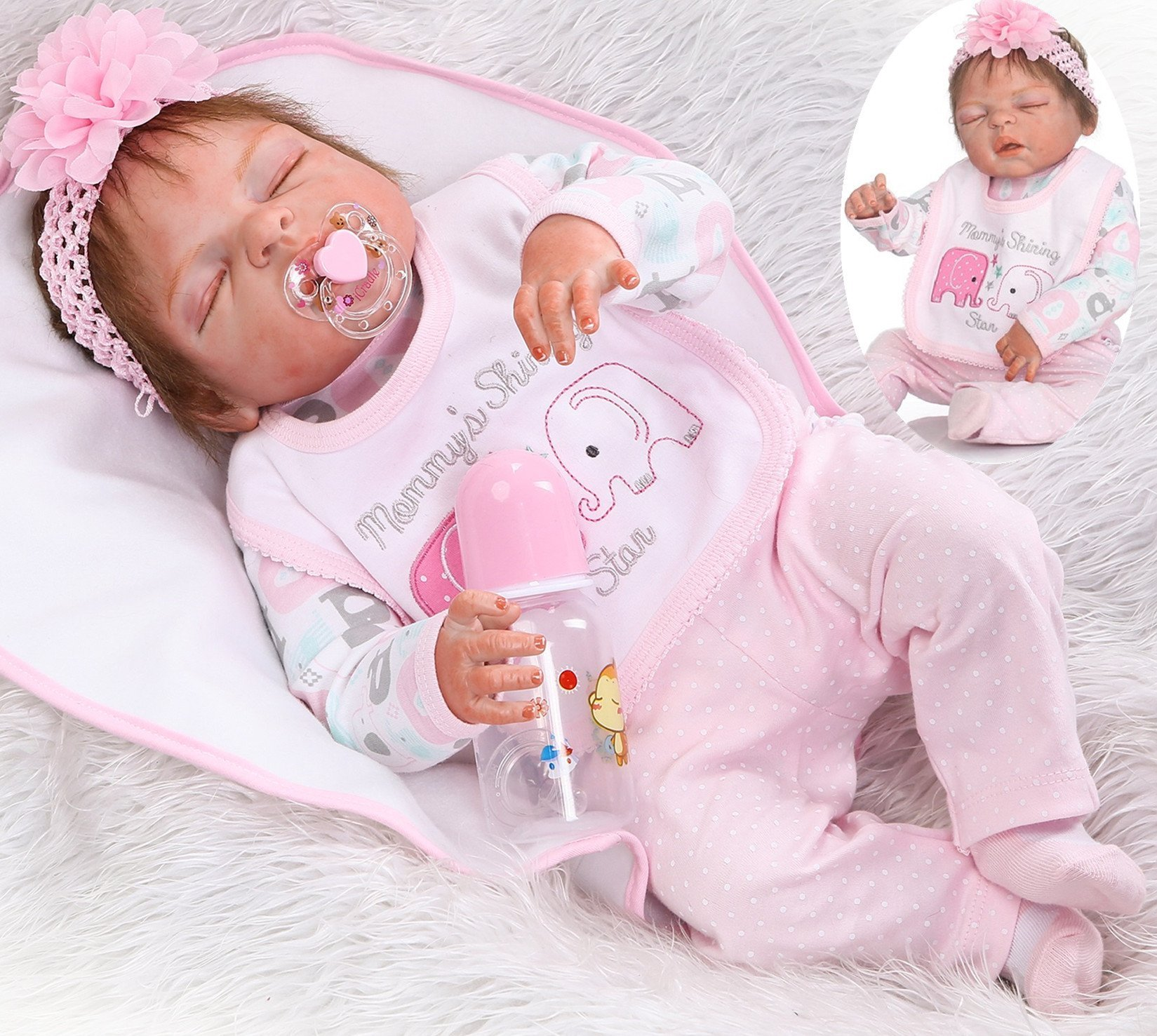 Sleeping Reborn Baby Dolls Girl Silicone Vinyl Full Body 22 inchs 55 cm Realistic Washable Handmade Anatomically Correct Pink Outfit Gift Set for Ages 3+