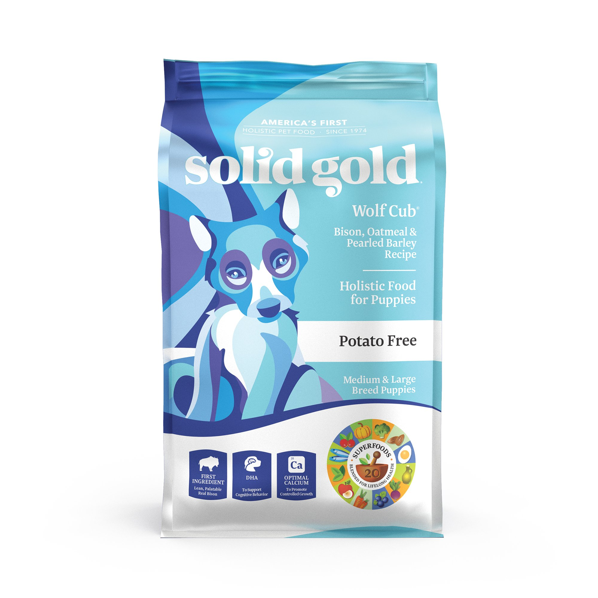 Solid Gold Large Breed Puppy Dry Food; Wolf Cub with Real Bison & Oatmeal; 24 lb