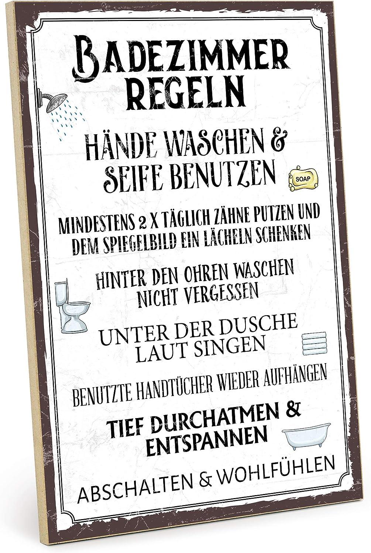 TypeStoff Holzschild mit Spruch – Badezimmer Regeln – im Vintage-Look mit  Zitat als Geschenk und Dekoration (Größe: 112,112 x 112,12 cm)