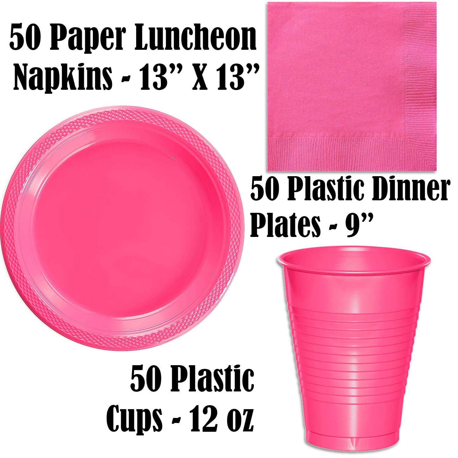 "and 50 Gold 50 Black Plastic Plates 12 oz. 9/"" 50 Hot Pink Plastic Cups"