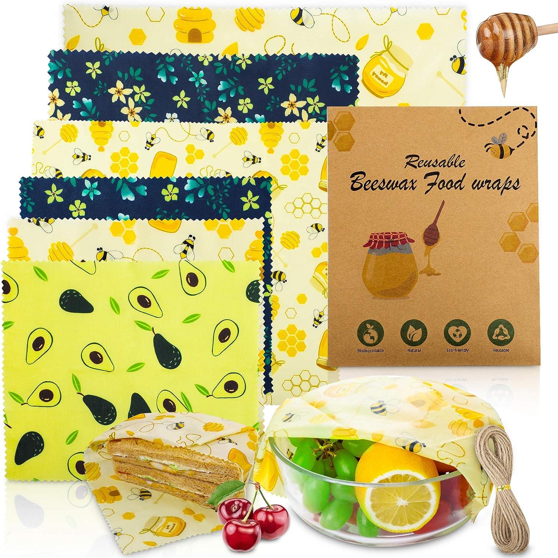 Popolic 6 PCS Envolturas Alimentos, Cera de Abeja, Bee-Wax Reutilizable Envolver, Papel de Cera de Abeja, sin Plástico, Envoltorios Ecologicos, Tapas Ecológicas, Cuerda de Cáñamo