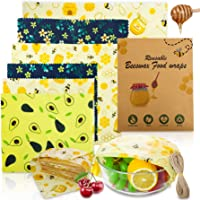 Popolic 6 PCS Envolturas Alimentos, Cera de Abeja, Bee-Wax Reutilizable Envolver, Papel de Cera de Abeja, sin Plástico…