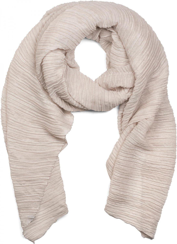 foulard styleBREAKER pashmina tessuto increspato effetto stropicciato a tinta unita da donna 01016107