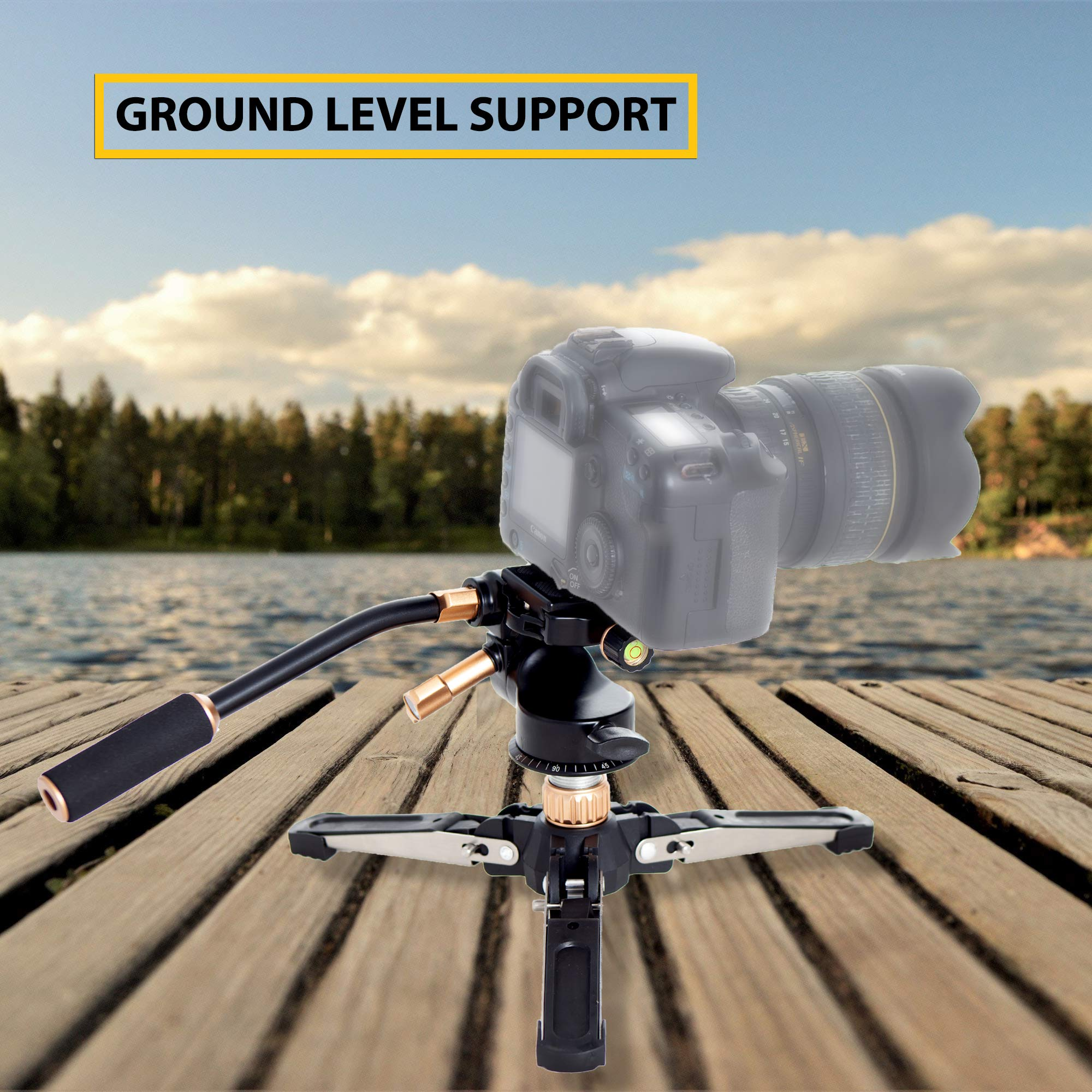 Professional Carbon Fiber Monopod Kit with Photo and Video 3-Way Head & Multi Direction Fluid Base for DSRL Cameras and Videocameras Pole Stick by Sensei Photo (Image #5)
