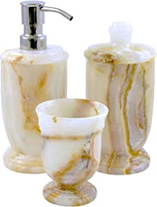 Nature Home Decor 300WO3 Atlantic Collection Bathroom Accessory Set of 3-Piece in White Onyx