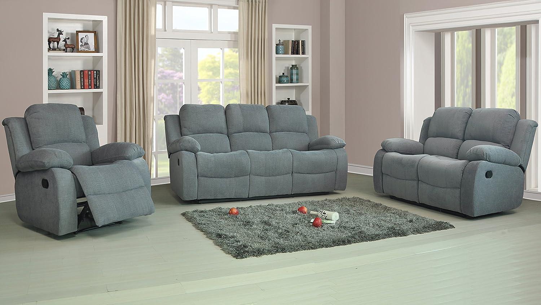 Brand New Roxy Fabric Recliner Sofa Set 3 2 In Luxury Light Grey