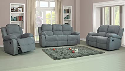 Roxy tela sillón reclinable sofá Set 3 + 2 en Luxury gris ...