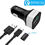 Quick Charge 3.0 Car Charger [QC 3.0] Fast Charger - LOVPHONE 2-Port / Dual USB Car Charger Adapter [QC 2.0 Compatible] Black Set with Micro USB Cable and Type-C adapter