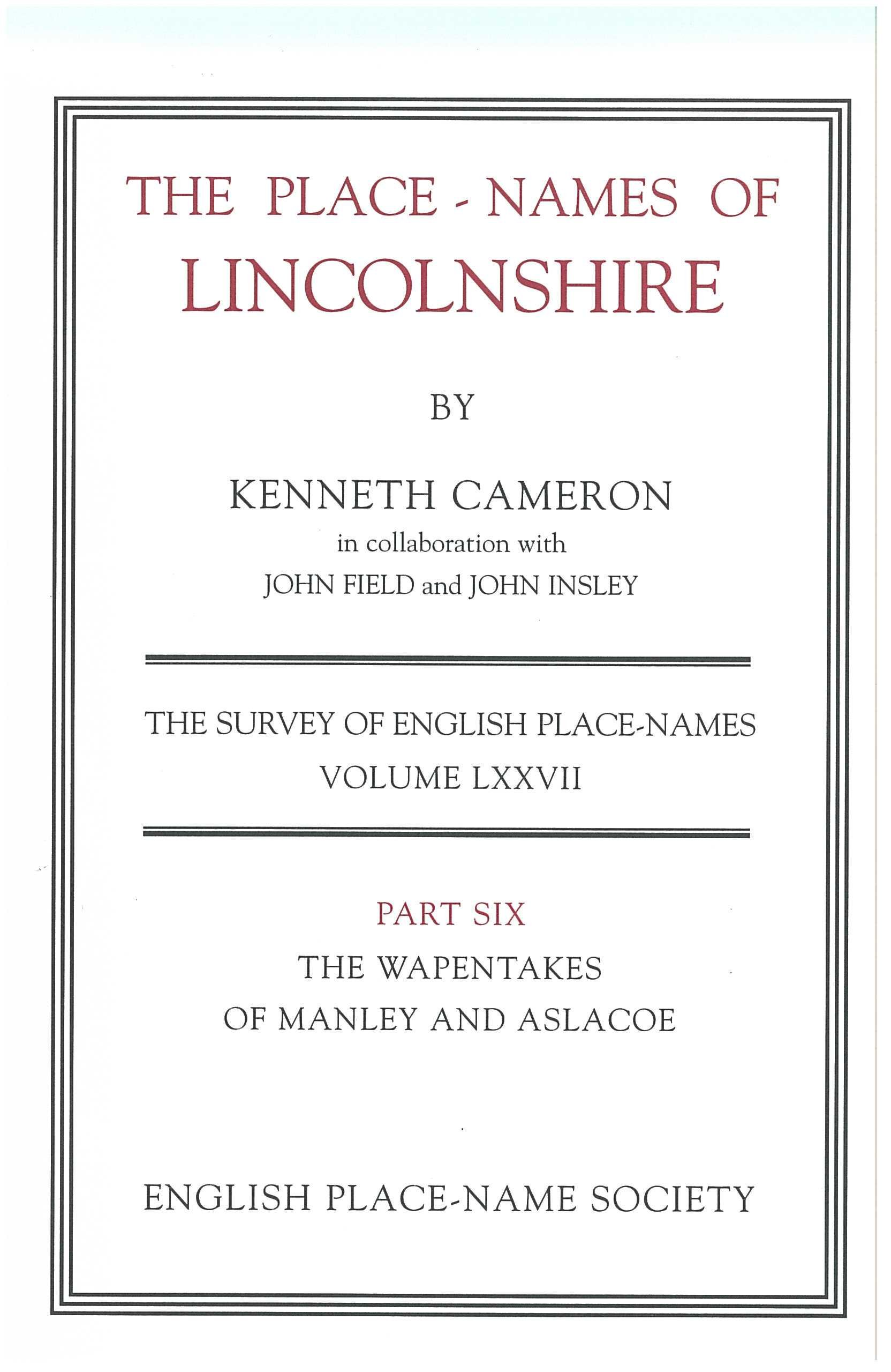 Place-Names of Lincolnshire (English Place-Name Society) (Pt. 6) PDF