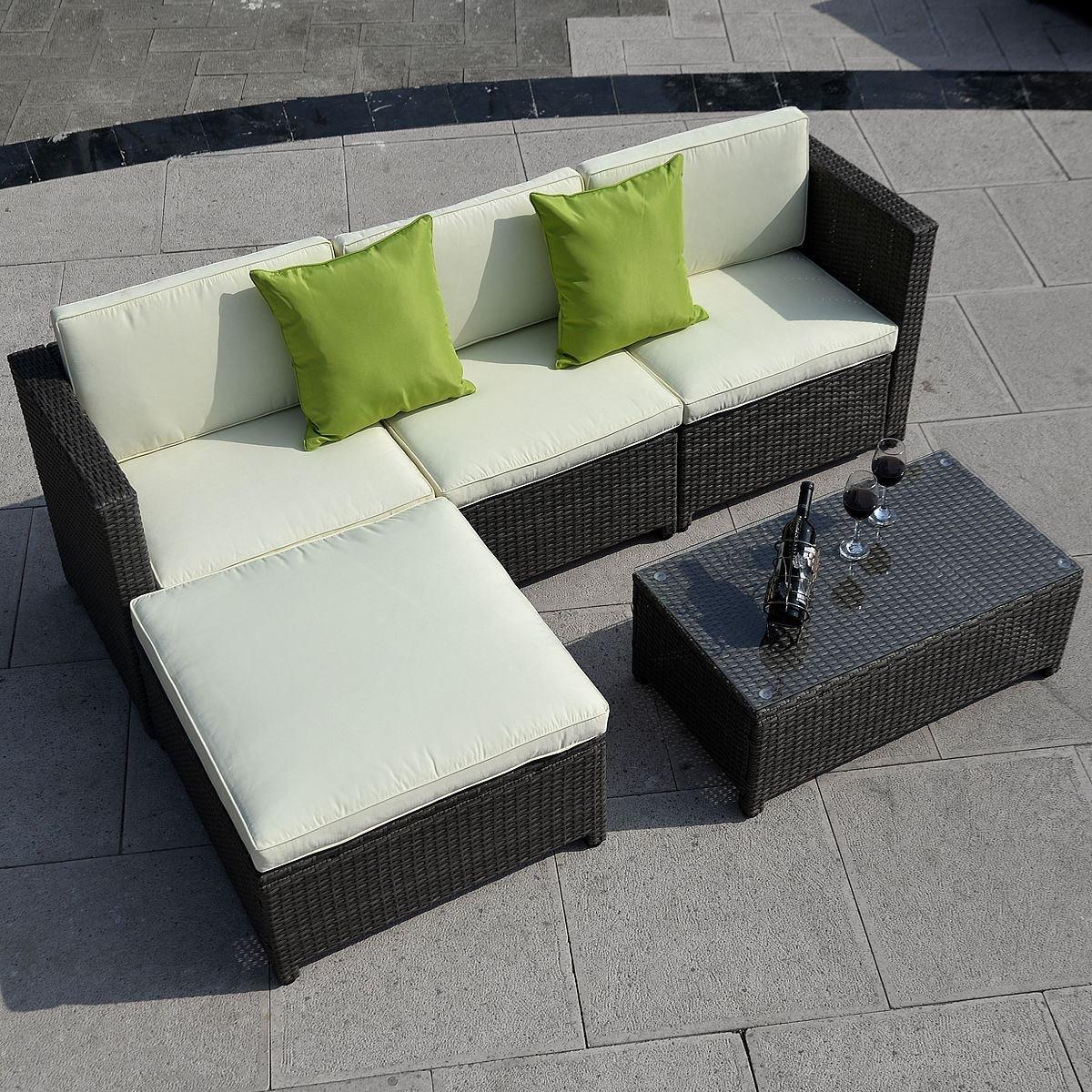 Amazon.com : 5pc Outdoor Patio Sofa Set Sectional Furniture Pe Wicker  Rattan Deck Couch (Brown) : Garden U0026 Outdoor