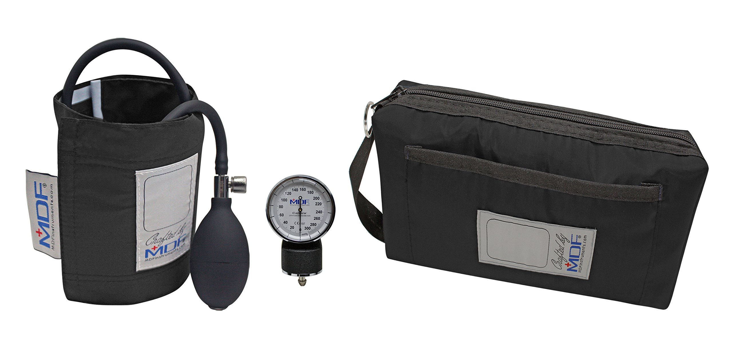 MDF® Calibra Aneroid Sphygmomanometer - Lifetime Calibration Warranty - Blood Pressure Monitor with Adult Sized Cuff Included - Black (MDF808M-11)