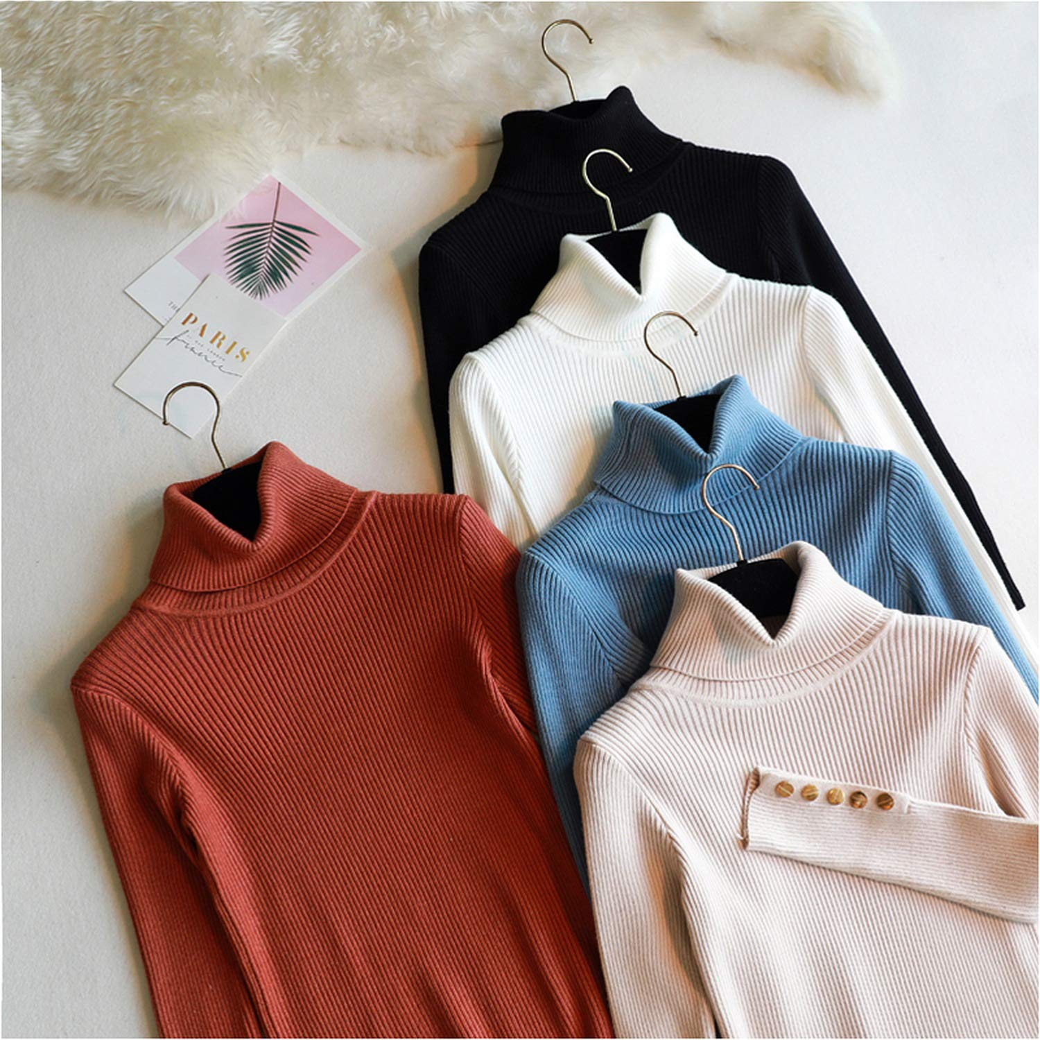 2018 Autumn Winter Women Thick Sweater Pullovers Long Sleeve Button Turtleneck Chic Sweater Female Solid Knit Top Soft Warm