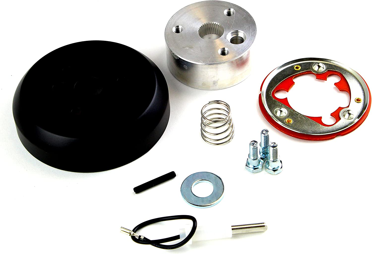 6 Hole Matte Black Hub Adapter Installation Kit A02 For Aftermarket Steering Wheels