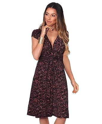 d47e3adf81d3e KRISP Femme Robe Froncée Feuilles Mode  Amazon.fr  Vêtements et accessoires