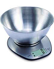 Exzact Electronic Kitchen Scale - EX4350 - Premium Large Display Wet and Dry Food Weighing Scale with Stainless Steel Mixing Bowl - 5 Kilogram / 11 Pound