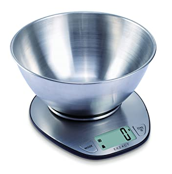 Exzact Electronic Kitchen Scale Ex4350 Premium Large Display Wet And Dry Food Weighing Scale With Stainless Steel Mixing Bowl 5 Kilogram 11