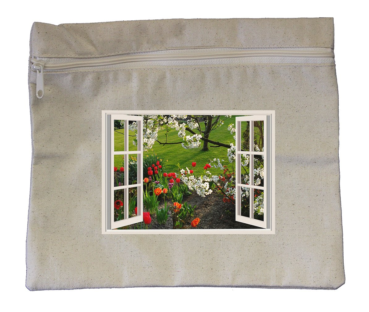 Canvas Zipper Pouch 10''X12'' A Beatiful Spring Day Open Window Style In Print
