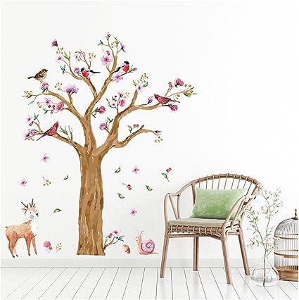 Mural Hiboux marron rose chambre enfant jeune fille animaux deco