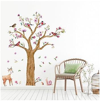 Wandsticker4u Wandtattoo Kinderzimmer Grosser Aquarell Baum Braun Wandbilder 170x145 Cm Wandaufkleber Dschungel Eule Reh Schnecke Vogel Blumen